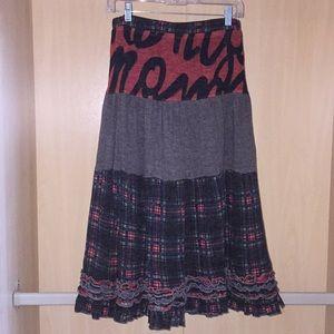 Midi light knit sweater material skirt hippie boho